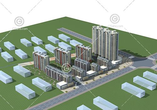 高层多层组合住宅3D模型下载
