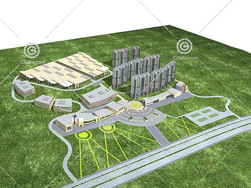 现代横排高层住宅小3D模型下载