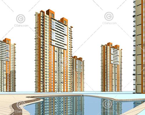 带有小河的高层住宅小区3D模型下载