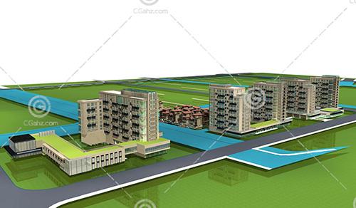 多层住宅别墅组合小区3D模型下载