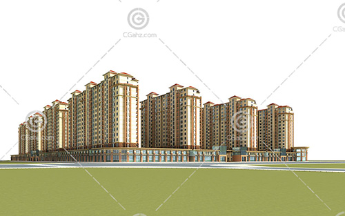 西班牙风格的街边高层住宅小区3D模型下载