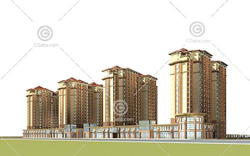 西班牙风格的沿街高层住宅小区3D模型下载
