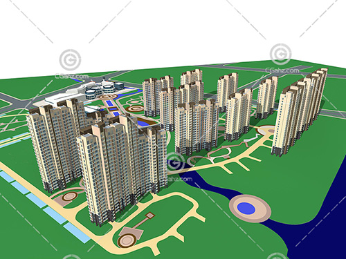 常见的现代高层住宅小区模型下载