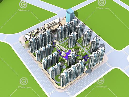 带有广场的现代高层住宅小区模型下载