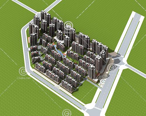 密集现代高层住宅小区3D模型下载