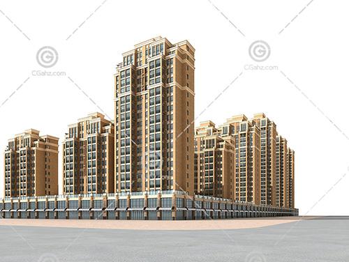 常见的街边高层住宅小区模型下载