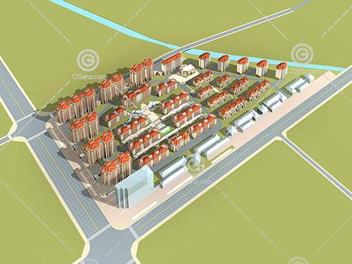 高层多层排屋组合小区3D模型下载