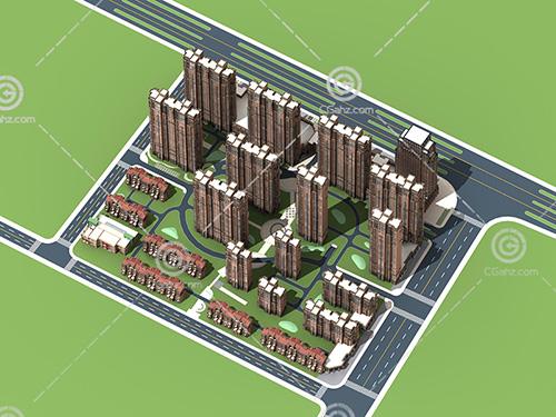 法式的高层排屋组合3D模型下载