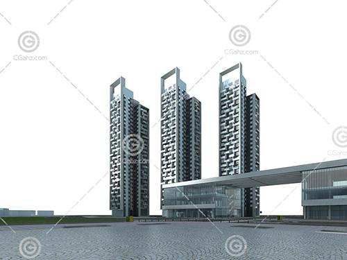 3栋现代高层住宅模型下载