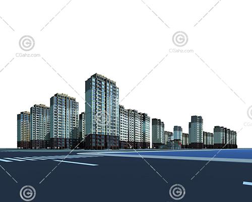 密集的高层住宅小区3D模型下载