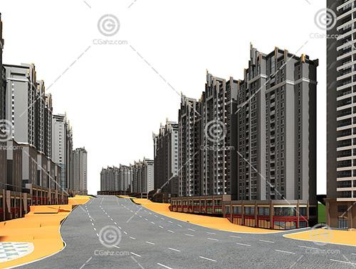 artdeco风格的高层住宅区3D模型下载