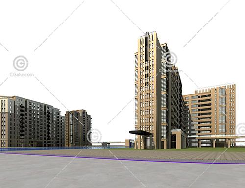 横排高层住宅区3D模型下载