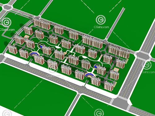 排列整齐的高层住宅小区3D模型下载