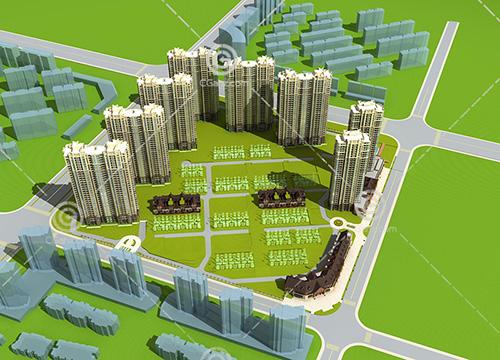 高层住宅排屋组合住宅区3D模型下载