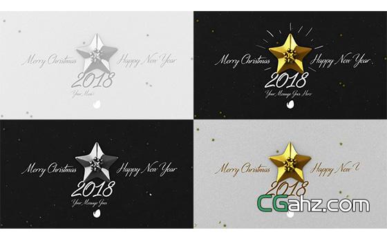 圣诞节的金银五角星开场小动画AE模板