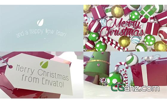 圣诞节主题三维场景动画包AE模板