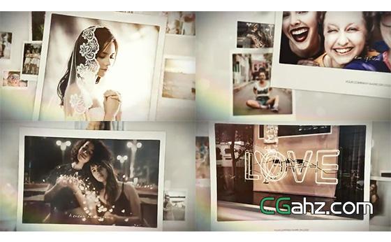 温情满满记忆相册AE模板,漂浮照片展