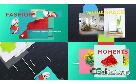 色彩和形状图像组成的简易式展示片头AE模板
