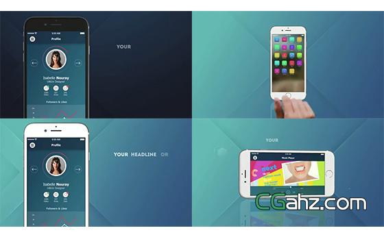模拟iPhone6手机上的APP应用程序宣传片AE模板