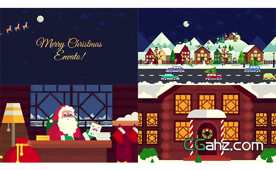 创意无限缩放的卡通圣诞节片头动画