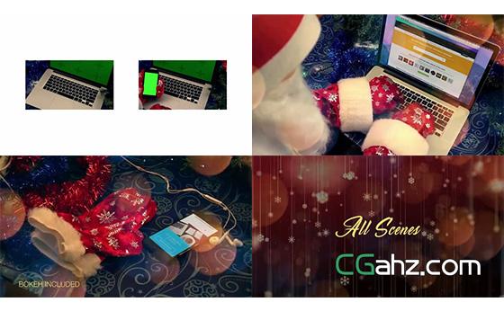 圣诞老人使用智能设备的样机素材包AE模板