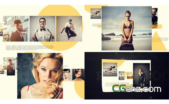 创意写真或杂志书本的内容展示效果AE模板