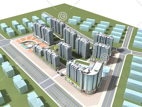 简单的沿街高层住宅模型下载