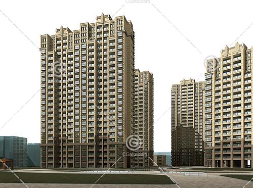带有亭子的高层住宅小区3D模型下载