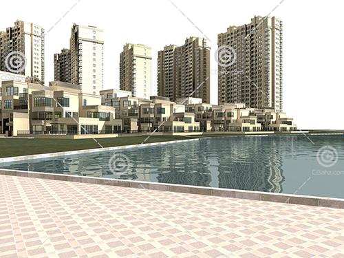 河边的高层多层组合住宅小区模型下载
