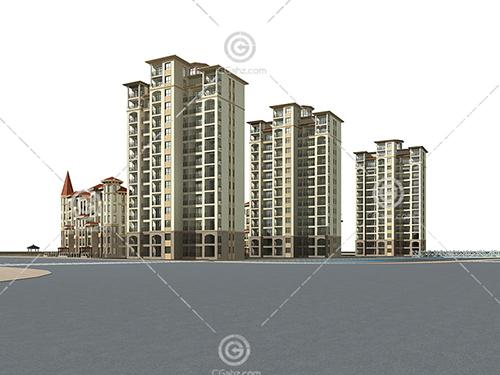 西班牙风格高层住宅小区3D模型下载