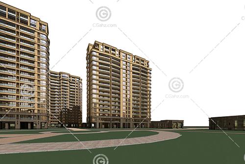 常见的现代高层住宅小区3D模型下载