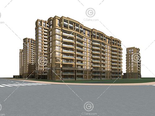 现代横排高层住宅小区3D模型下载