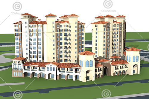 西班牙风格的高层住宅小区3D模型下载