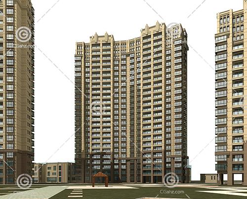 常见的高层住宅小区3D模型下载