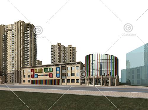 沿街高层住宅区3D模型下载