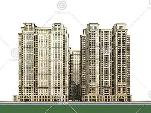 现代的高层住宅小区模型下载