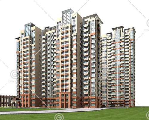 现代简洁的高层住宅小区模型下载