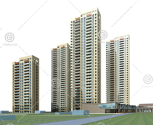 现代高层住宅区3D模型下载