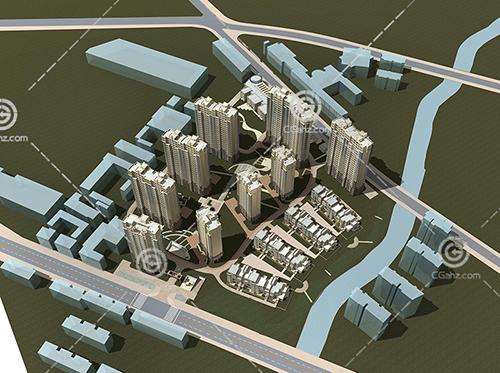 高层多层组合的现代住宅小区模型下载