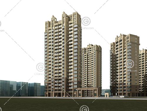 现代高层住宅区模型下载