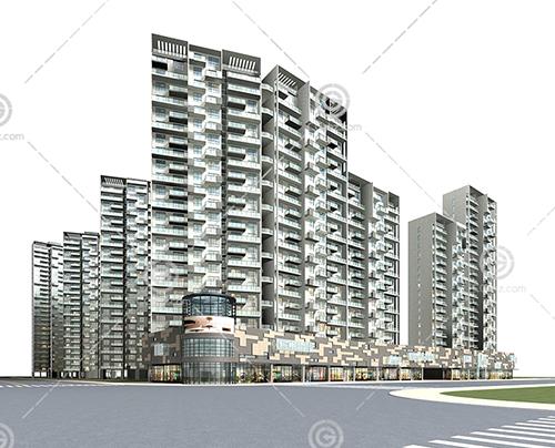 现代的沿街高层住宅3D模型下载