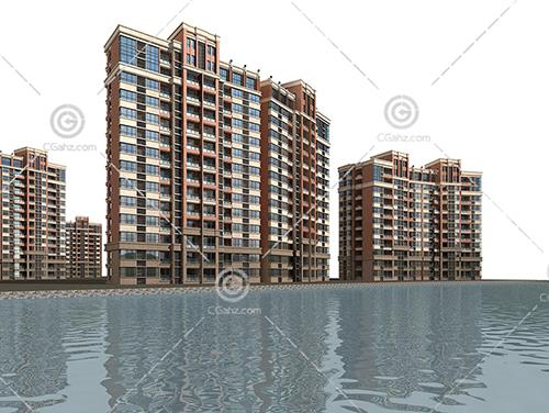 河边的高层住宅小区模型下载