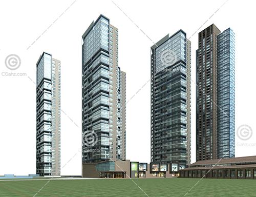 法式沿街高层住宅小区3D模型下载
