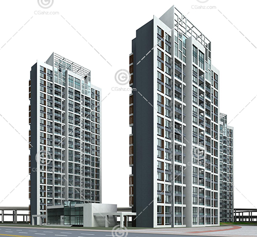 现代简单的高层住宅小区3D模型下载