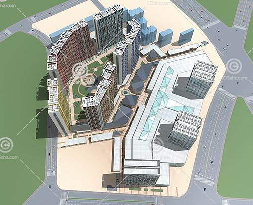 梯形排列的现代住宅小区3D模型下载