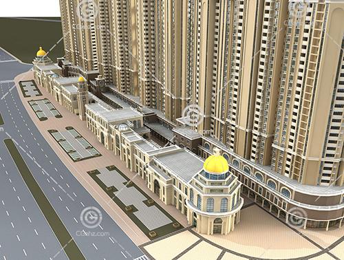 欧式高层住宅小区模型下载