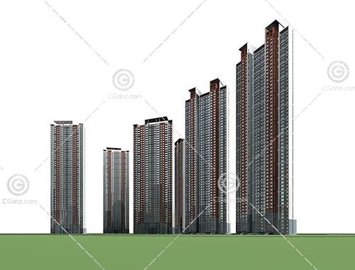 简单的现代高层住宅小区3D模型下载
