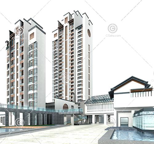 徽派高层住宅小区3D模型下载