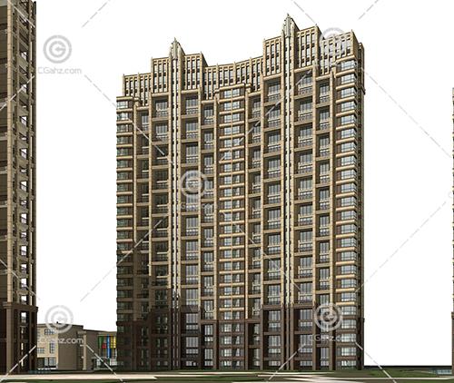 现代的横排高层住宅小区3D模型下载