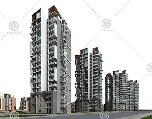 时尚的现代高层住宅小区3D模型下载